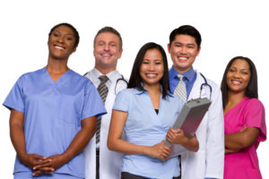 Group of happy multiracial medical team.